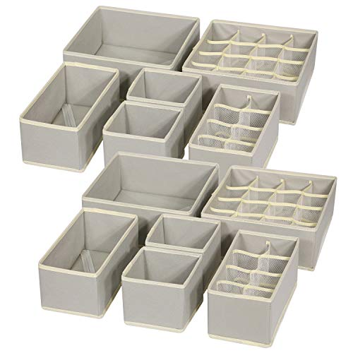 TENABORT 12 Pack Foldable Drawer Organizer Dividers Cloth Storage Box Closet Dresser Organizer Cube Fabric Containers Basket Bins for Underwear Bras Socks Panties Lingeries Nursery Baby Clothes Gray