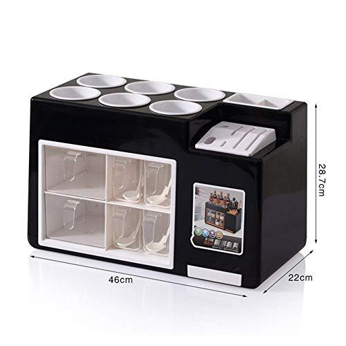 Chincky Küchenregal Rack Gewürzregal Condiment Flaschenhalter Messer und Gabel Essstäbchen Ablaufhalterung,3T