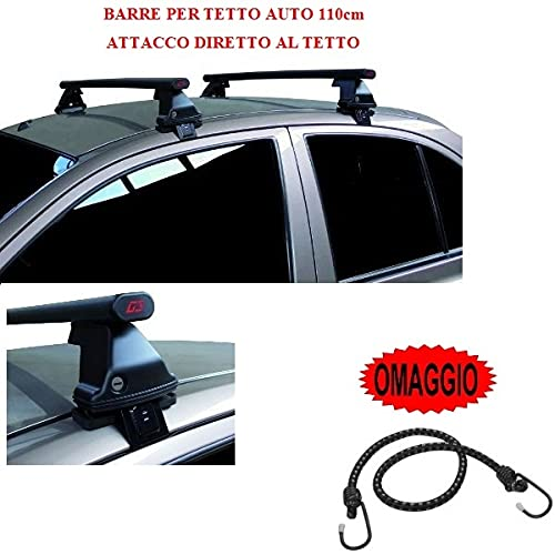 Compatible con Peugeot 207 5p 2011 (68004) Barras DE Techo para Coche Barra DE Coche DE 110CM SIN BARANDA con Accesorio Directo AL Rack DE Techo Rack DE Acero