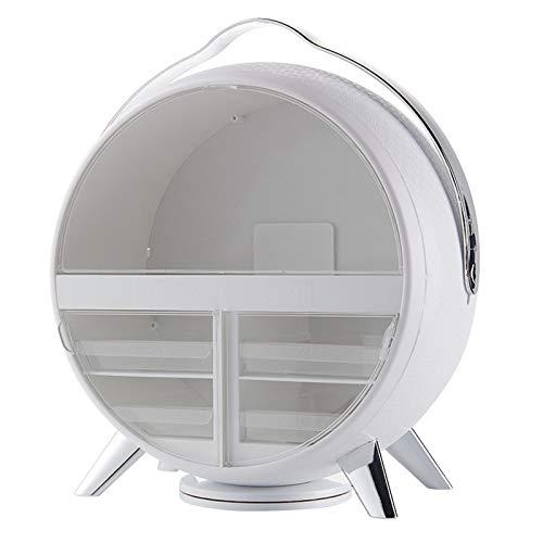 Organizador De Maquillaje con Luz LED, Caja De Almacenamiento De Cosméticos Redonda Impermeable A Prueba De Polvo, Organizador De Escritorio De Cubierta Transparente para Dormitorio
