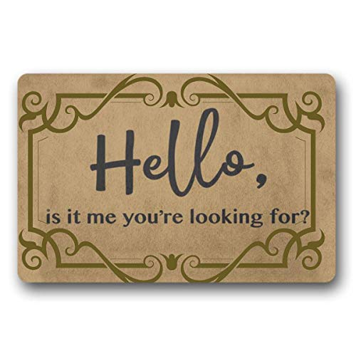 """WYFKYMXX Hello is It Me (Doormat), Lionel Richie Welcome Mat, Closing Gift, Farmhouse Decor 23.6"""" x 15.7"""""""