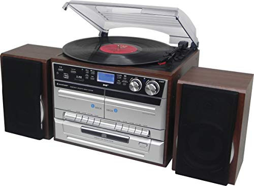 Soundmaster MCD5550DBR DAB Bluetooth Doppelkassette CD Plattenspieler USB Encoding