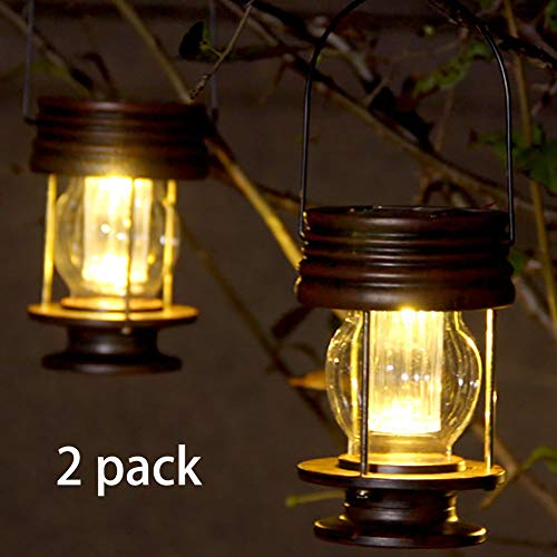 pearlstar Hanging Solar Lights Outdoor Garden Lights LED Retro Solar Lanterns with Handle for Pathway Yard Patio Decoration, Table Lamp Lights,2 Pack (Warm Lights)
