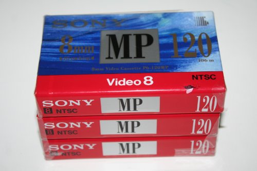 SONY 8mm Video Cassette Tape P6-120MP - 120 Minutes (3 pack)