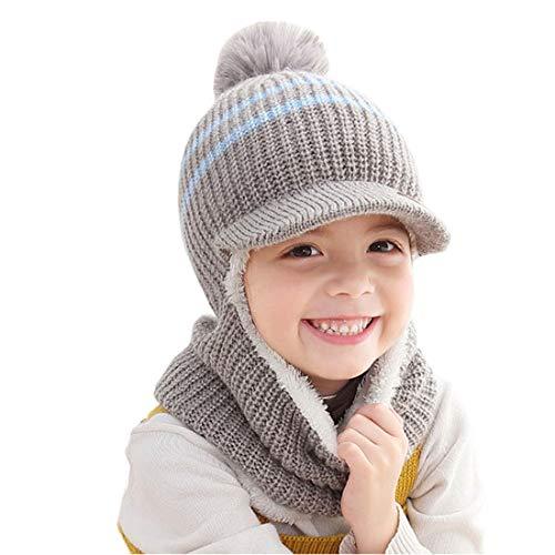 YONKOUNY Kinder Wintermütze Jungen Mädchen Warm Niedlich Strickmütze Schalmütze Schlupfmütze Beanie Mütze mit Fleecefutter (Grau)