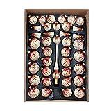 40er Christbaumschmuck, Weihnachtsbaumkugel Set Lauscha ,Eislack Champagner Bordeaux Gold, 38 Kugeln+Spitze, Handarbeit