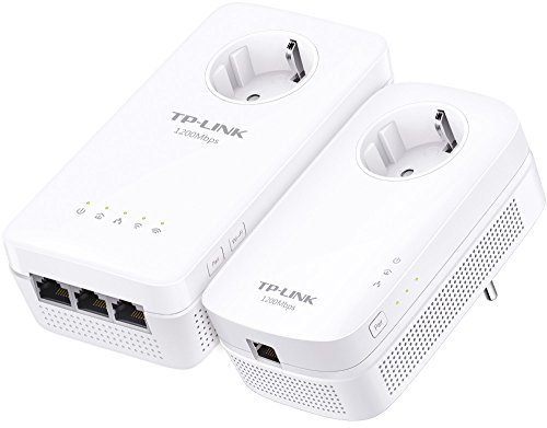 TP-Link Gigabit WLAN WiFi Powerline Adapter Set mit Steckdose AV1300 AC1350 TL-WPA8630P KIT (ideal für Media-Streaming, Wifi Clone, MU-MIMO, App Steuerung, 4 Gigabit Ports, Plug & Play, AP Modus) weiß