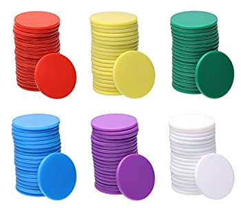 Shapenty 6 Colors Small Plastic Learning Counters Disks Chip Counting Discs Markers for MathPractice and Poker Chips Game Tokens with Storage Box,120PCS  25mm / 1Inch
