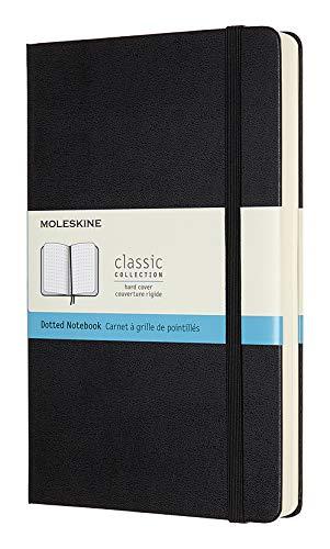 Moleskine Klassisches Notizbuch (mit Punktraster und Zusatzseiten, Hardcover mit elastischem Verschlussband, Größe A5 13 x 21, 400 Seiten) schwarz