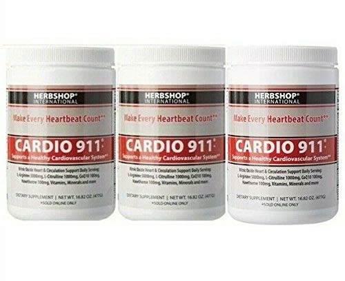 Cardio 911 Heart Health, Nitric Oxide Supplement, (16.82 Ounce Powder with Scoop), Tart Cherry Flavor, L-Arginine 5000 mg and L-Citrulline 1000 mg Combo, Pack of 3
