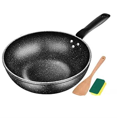 Wok Non-Sobry Pan Menos aceite Humo Cocina Estufa de gas Plano Inferior Pot Hotpot Non Stick Pan Pan Cocina Pan Cocina Cocinar (Color : 32 cm without cover)