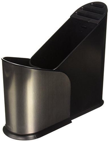 Umbra Furlo Zwart RVS Uitbreidbare Utensil Houder - Multi Functionele Keuken Caddy Organizer met Divider en Plastic Mand - Perfect voor het houden van messen in Container op de Keuken Counter