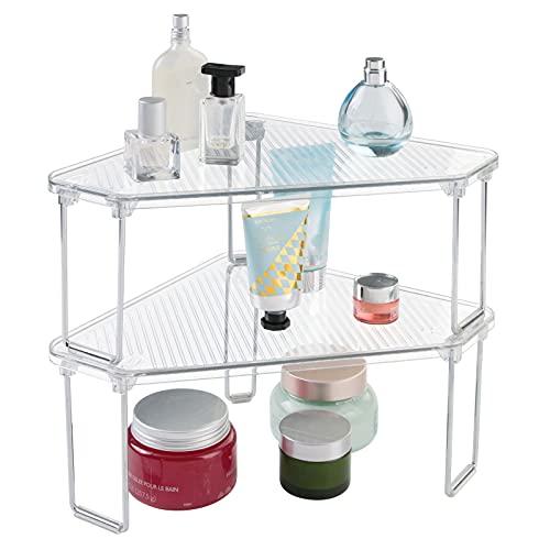mDesign Set da 2 Mensole ad angolo da appoggio – Organizzatore trucchi e accessori – Portaoggetti da bagno in plastica di qualità – Due ripiani ciascuno – trasparente
