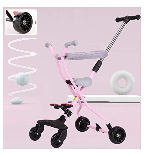 JKNMRL Trolley Ligero Trolley para niños Trolley Plegable con Rueda de ensanchamiento de 5 cm, Plegable con un Solo Clic