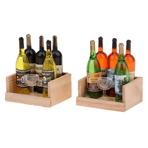 SM SunniMix 1/12 Casa de Muñecas Miniatura Botella de Vino Cáliz Y Caja de Madera Magnética 2 Juegos