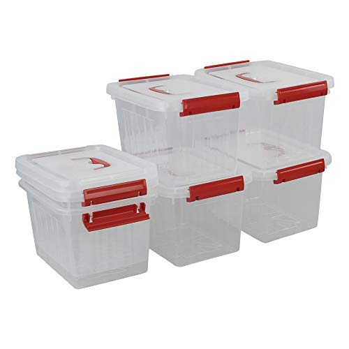 Ucake Caja Pequeña de Plástico para Almacenamiento de Primeros Auxilios con Tapa y Asa, Transparente y Roja, 6 Piezas