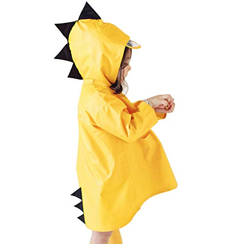 Dehots Regenmantel Regenjacke Kinder Regenponcho Regencape Unisex mit Kapuze Wasserdicht für Jungen Mädchen Dinosaurier, Gelb, XXXL- Höhe:125-135cm
