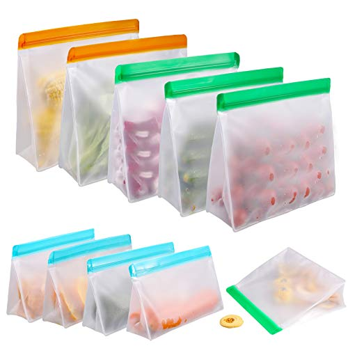 Reusable Food Storage Bags 10 Pack, Stand Up FDA Grade Leakproof Reusable Freezer Bags, 2 Reusable Gallon Bags + 4 Reusable Sandwich Bags + 4 Reusable Lunch Bags for Meat Fruit Cereal Snacks