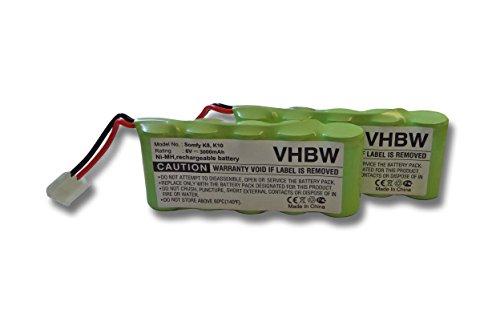 vhbw 2x Set Ersatz Akku passend für Bosch Somfy, Bosch Roll-Lift, Bosch Rollfix (Ni-MH, 3000mAh, 6V)