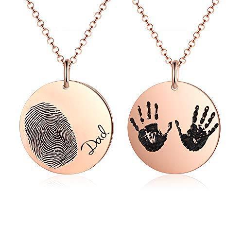 Gaosh Tatsächliche Fingerabdruck ovale Halskette - tatsächliche Handschrift Halskette - Memorial Schmuck - Unterschrift Schmuck - Personalisierter Name Halskette - neue Mutter Geschenk (Rose Gold)