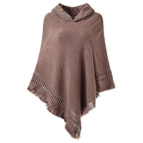 FXYY vrouwen capuchon Cape Poncho met franje Hem, Elegante V-hals Gebreide gehaakte trui sjaals wikkelt capes, gehaakte Poncho breipatronen