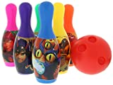Big Hero 6 Miniature Bowling Set - Colorful Bowling Ball Toys Set, Great Gift for Children, Multi-Color Plastic Bowling for Kids Party, Includes 6 Bowling Pins and Ball - 7 Pc Set