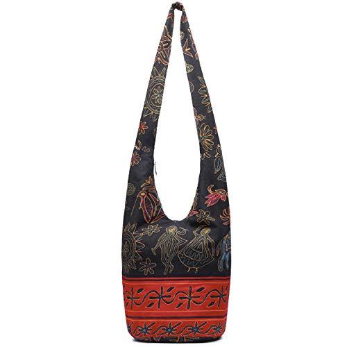Women Hand Fashion canvas Crossbody Bags Cotton Bohemian Animal Prints Hobo Bags (Red-Black)