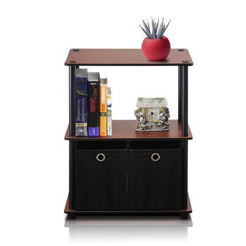 Furinno Go Green 3-Tier Multipurpose Storage Shelf with Bins, Dark Cherry/Black