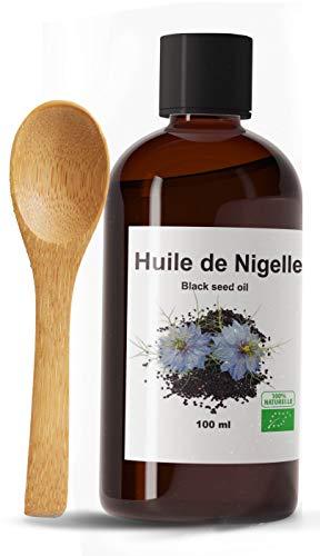 HUILE DE NIGELLE BIO 100 ML ET 100% Bio et cuillère en bois, Pure et Naturelle - 100 ml - Qualité alimentaire et cosmétique -Soin pour Cheveux, Cuir chevelu, Corps, Peau