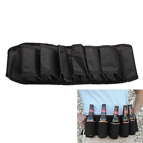 6 Pack Bier Soda Belt Drinks Bier Belt Houder Bottlr Carrier voor Outdoor Camping Party Zwart