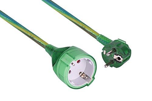 Electraline 900047 Prolongador de 3 m con Toma Schuko, Cable 3G1,5 mm², Color Verde