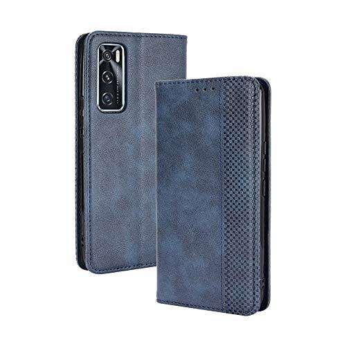GOGME Leder Hülle für Vivo Y70 Hülle, Premium PU/TPU Leder Folio Hülle Schutzhülle Handyhülle, Flip Hülle Klapphülle Lederhülle mit Standfunktion und Kartensteckplätzen, Blau