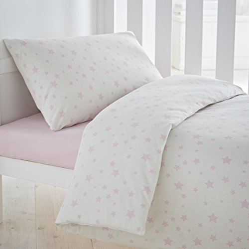 Silentnight Safe Nights Nursery Cot Bed Duvet Cover & Pillowcase Set, Pink Star