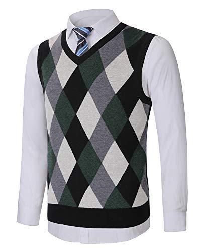 KTWOLEN Chaleco Suéter para Hombre Suéter sin Mangas con Cuello en V Caliente Jersey Invierno de Chaqueta de Punto de Otoño Cárdigan (Verde, XS)