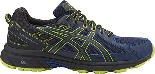 ASICS Mens Gel-Venture 6 Running Shoe, Indigo Blue/Black/Energy Green, 11.5 Medium US