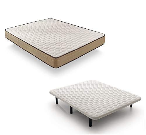 IKON SLEEP - Pack Ahorro Colchón Bamboo Relax + Baste Tapizada 3D Reforzada con Patas, Blanco 150x190 cm