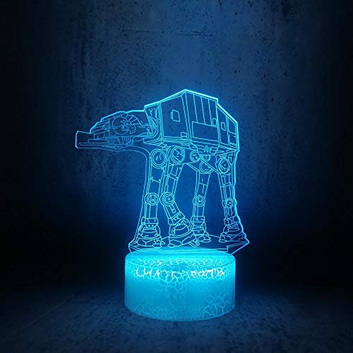 3D Illusionslampe Led Nachtlicht Walking Roboter Hund Star Shaped Wars Future Cosmic Fahrzeug Acryl Farbe Tischlampe Beste Geburtstagsfeiertagsgeschenke Für Kinder