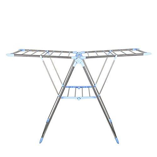 QARYYQ - percha de ropa plegable de acero inoxidable para piso de balcón, barra de toalla ajustable, 136 cm de largo x 50 cm de ancho x 88 cm de alto, color azul, soporte de 30 kg de secado., L136cm, 1