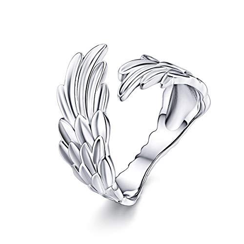 BAMOER Sterling Silver Angel Wings Of Hope Finger Ring, Platinum Plated Adjustable Size 6-8 Original Design Rings for Women