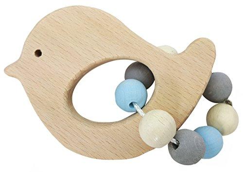 Hess Spielzeug Hochet avec des perles en bois hochet bébé, Oiseau naturel/bleu