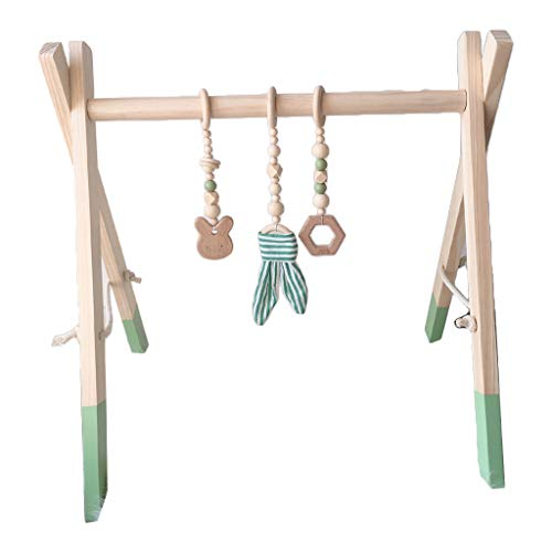 XINGYUE Baby Play Gimnasio de madera, 1 set de dibujos animados nórdicos bebé de madera oreja de conejo juguetes colgante gimnasio Fitness Rack Kit de decoración de habitación infantil
