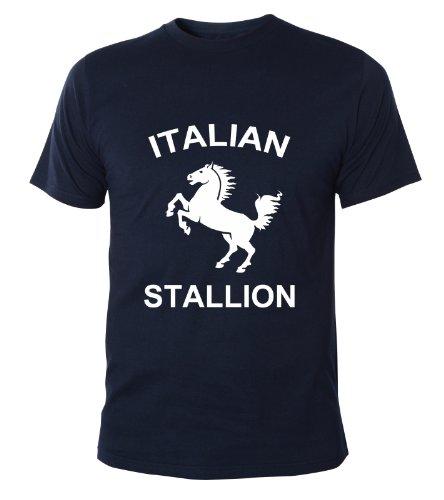 Mister Merchandise Cooles Herren T-Shirt Italian Stallion Stallone Rocky Cult Kult, Größe: XXL, Farbe: Navy