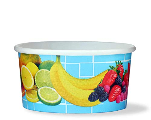 200 tarrinas de helado, tarrina de papel para helado o tarrina para fruta con 160 ml de volumen de llenado, para dos bolas de helado