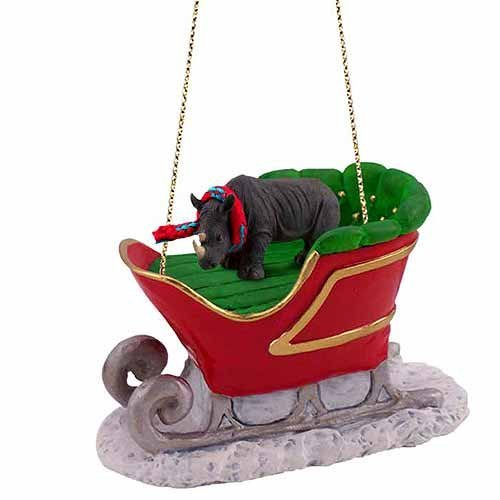 Rhinoceros Sleigh Ride Christmas Ornament by Conversation Concepts