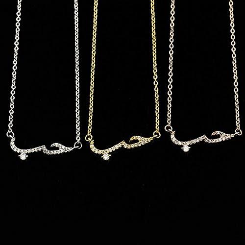 GIAOYAO Pulseras de Declaración de Amor Árabe para Mujeres Hombres Charm Crystal Bracelet Regalo, Plata Creativa y útil