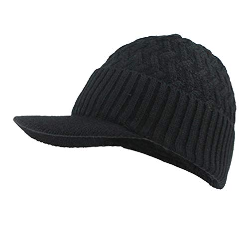 Mens Winter Hats Warm Fleece Lined Unisex Ribbed Knit Hat Visor Beanie Skull Caps (Black)
