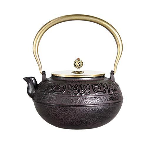 HQQ Caldera de té de Estilo Chino, Tetera de té de Hierro Fundido Retro, diseño de Relieve 3D, 47.3 oz, Negro