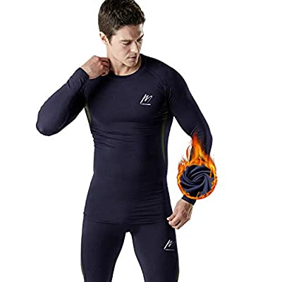 MeetHoo Thermal Underwear for Men, Fleece Lined Base Layer Set Long Johns for Running Skiing Blue