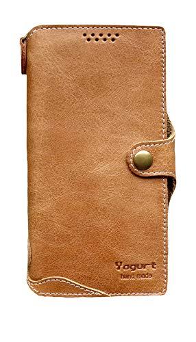 Yogurt für Samsung Galaxy Note20 Ultra Ledertasche Hülle Echtleder Hülle Lederhülle Wallet Braun