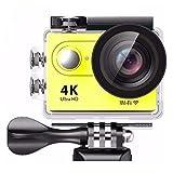 Shangya Cámara 30m Impermeable de 170 Grados Lente de ángulo Amplio H9 4K extremista HD1080P 12MP Pantalla LCD de 2 Pulgadas Wi-Fi Deportes (Color : Yellow)